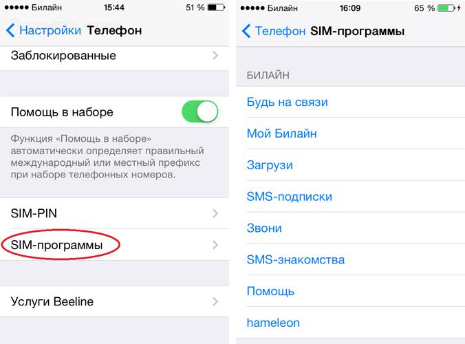 SIM-меню Билайн на iPhone