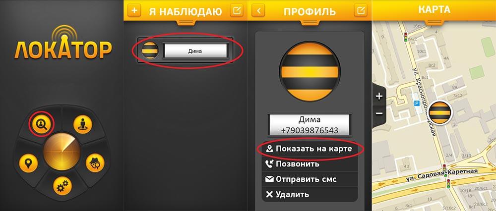 """Скриншот приложения """"Локатор"""""""