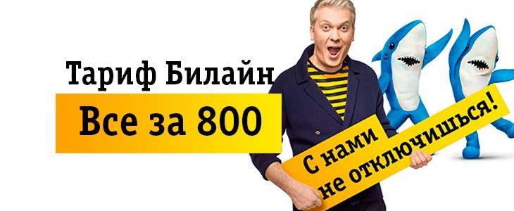 Тарифный план Билайн «Все за 800»